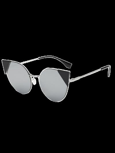 Triangle Insert Cat Eye Mirrored Sunglasses - SILVER  Mobile