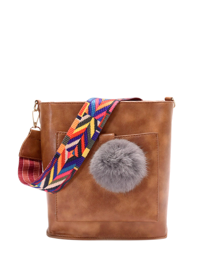 Colorful Strap Pompon Shoulder Bag - BROWN  Mobile