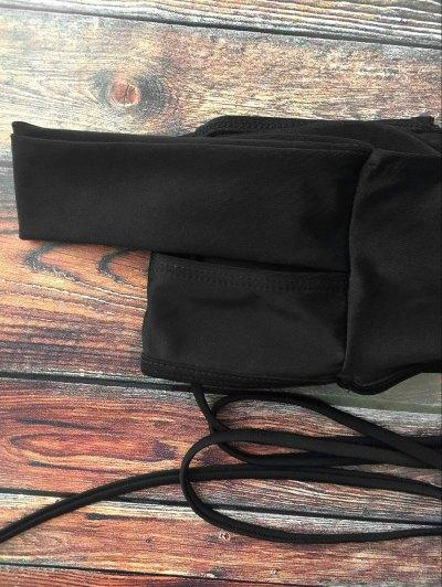 Lace-Up Crossover Bikini Set - BLACK M Mobile