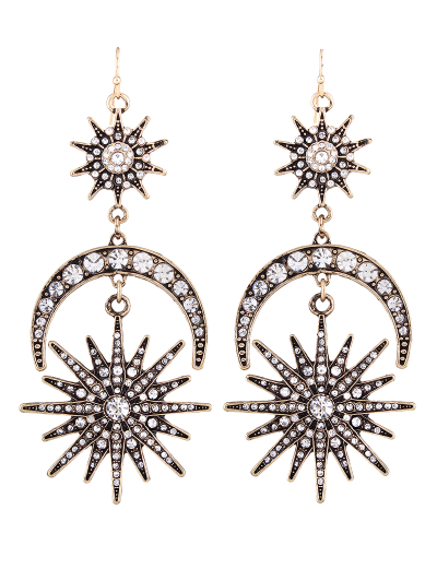 Crescent Floral Rhinestone Drop Earrings - SILVER  Mobile