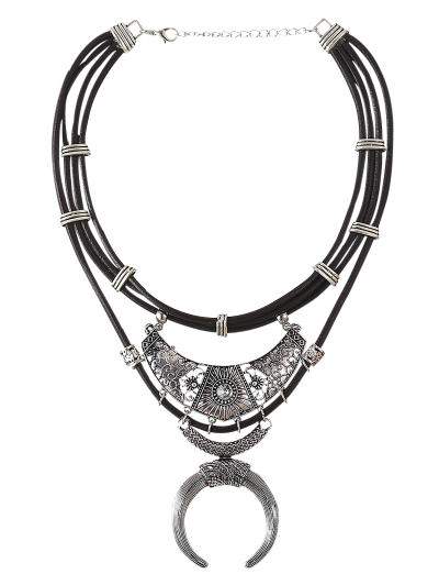 Faux Leather Crescent Necklace - SILVER  Mobile