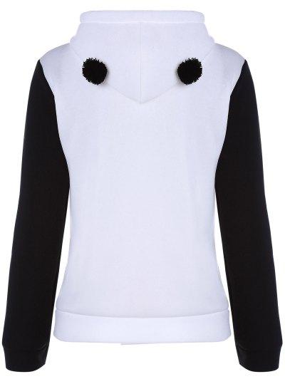 Panda Pattern Hooded Long Sleeve Hoodie - WHITE XL Mobile