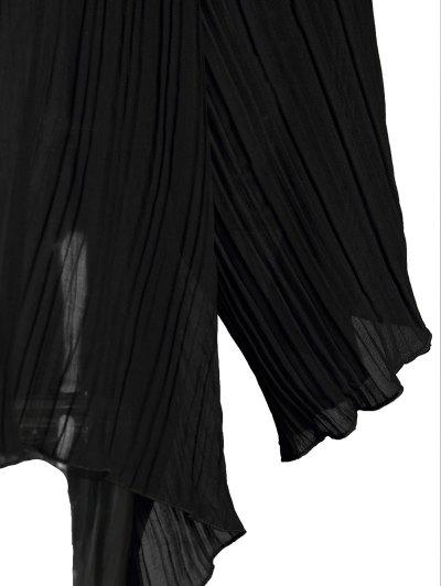 Black Chiffon Oblique Shoulder Long Sleeve Dress - BLACK L Mobile