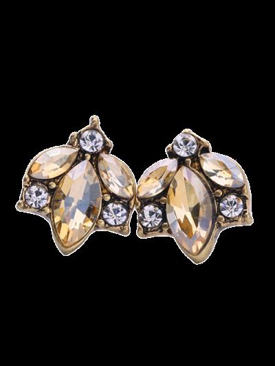 Tree Leaf Rhinestoned Earrings - BROWN  Mobile