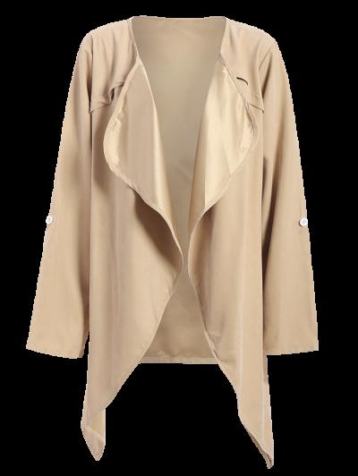 Drape Front Plus Size Coat - LIGHT KHAKI 5XL Mobile