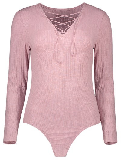 Skinny Ribbed Lace Up Bodysuit - PINK L Mobile