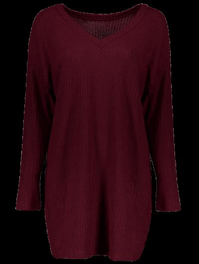 Skew Neck Long Sleeve Jumper - WINE RED XL Mobile