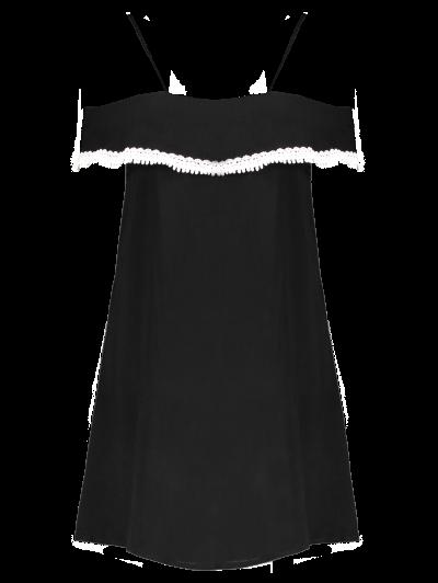 Mini Off The Shoulder Flounce Dress - BLACK M Mobile