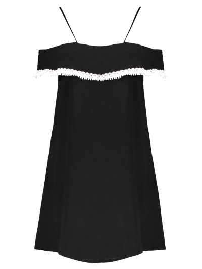 Mini Off The Shoulder Flounce Dress - BLACK S Mobile