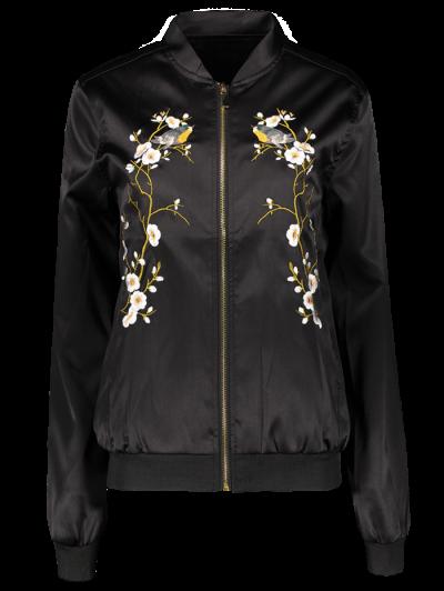 Embroidered Baseball Jacket - Black