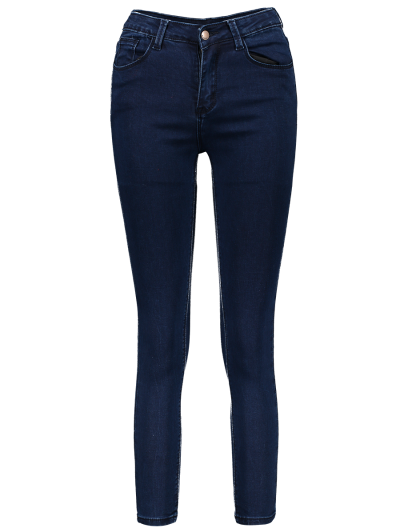 High Waisted Zip Fly Jeans - DEEP BLUE M Mobile