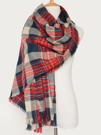 Plaid Pattern Fringed Oblong Scarf - RED  Mobile