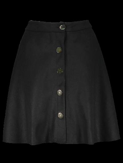 Wool Blend Flounce Mini Skirt - BLACK M Mobile