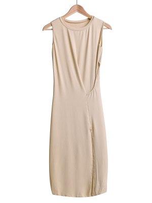 Side Slit Midi Tank Dress - Off-white