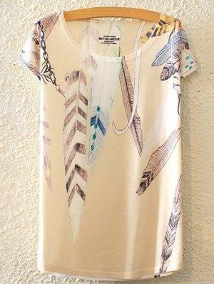Feather Print Round Collar Short Sleeve T-Shirt - White