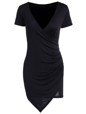 Solid Color Short Sleeve Bodycon Dress - Black