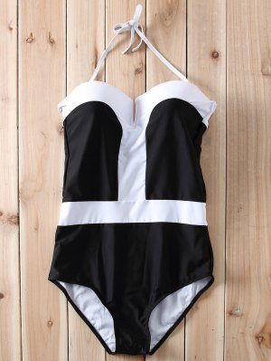Color Block Bandeau One Piece Swimwear - White And Black