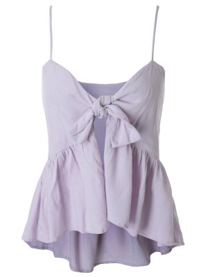 Spaghetti Strap Tie Knot Pepleum Tank Top - Light Purple