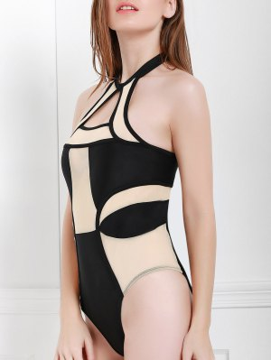 Mesh Panel Shaping One-Piece Swimwear - Black And Pink