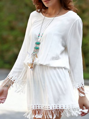 Beach Blouson Dress Cover Up - White