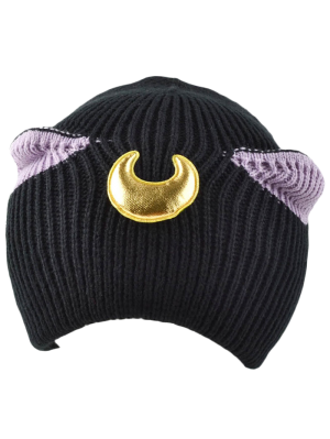 Moon Knit Cat Ear Hat - Black