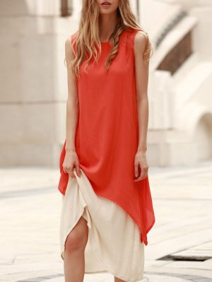 Two Piece Tank Dress - Orange