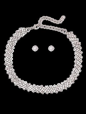 Rhinestone Geometric Choker Set - Silver White