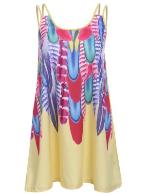 Feather Print Cami Dress - Yellow