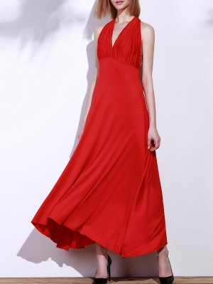 Backless Convertible Maxi Dress - Red