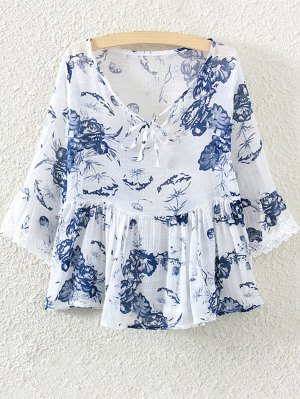 Lace Insert Floral Skirted Blouse - White