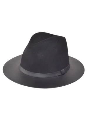 Winter Larger Brimmed Fedora Bowler Hat - Black