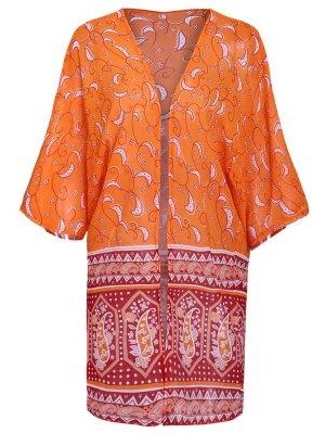 Paisley Print 3/4 Sleeves Kimono - Orange