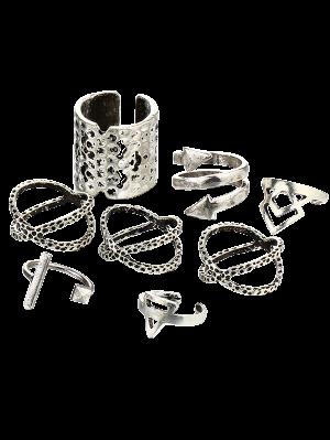 Vintage Geometric Ring Set - Silver