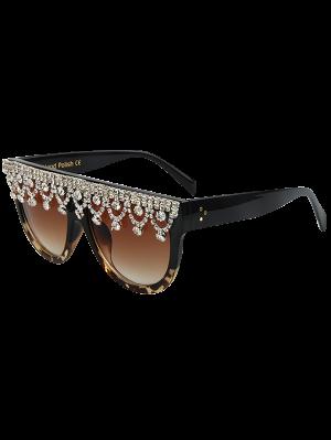 Rhinestone Pendant Fringed Leopard Match Sunglasses - Black
