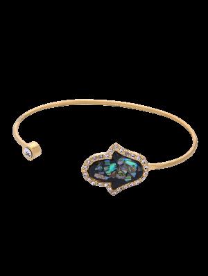 Faux Gemstone Rhinestone Palm Cuff Bracelet - Golden