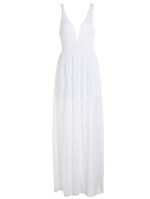 Crochet Flower Chiffon Prom Plunge Dress - White