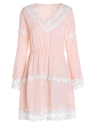 Crochet Floral Applique Chiffon Dress - Pink