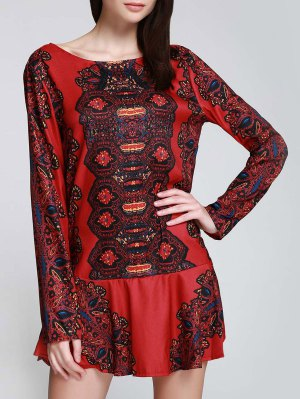 Long Sleeve Printed Tunic Dress - Red