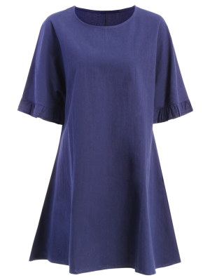 Bell Sleeve A-Line Ruffle Dress - Purplish Blue