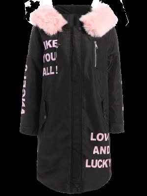Hooded Letter Padded Coat - Black