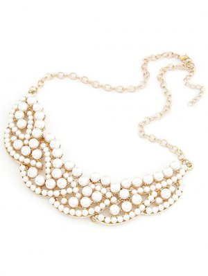 Faux Pearl Hollow Out Statement Necklace - Golden