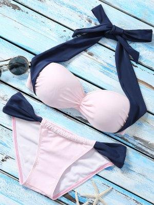 Bloque De Color Con Aros Set Bikini - Azuly Rosa