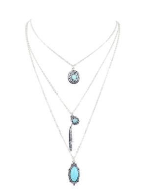 Bohemian Layered Pendant Necklace - Silver