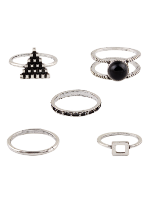 Burnished Geometric Ring Set - Silver