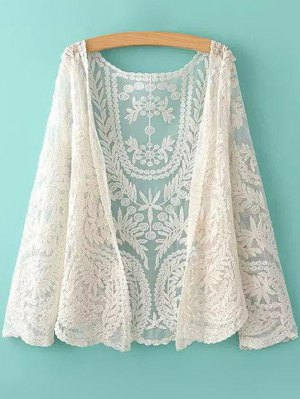 See-Through Leaves Pattern Lace Blouse - Blancuzco