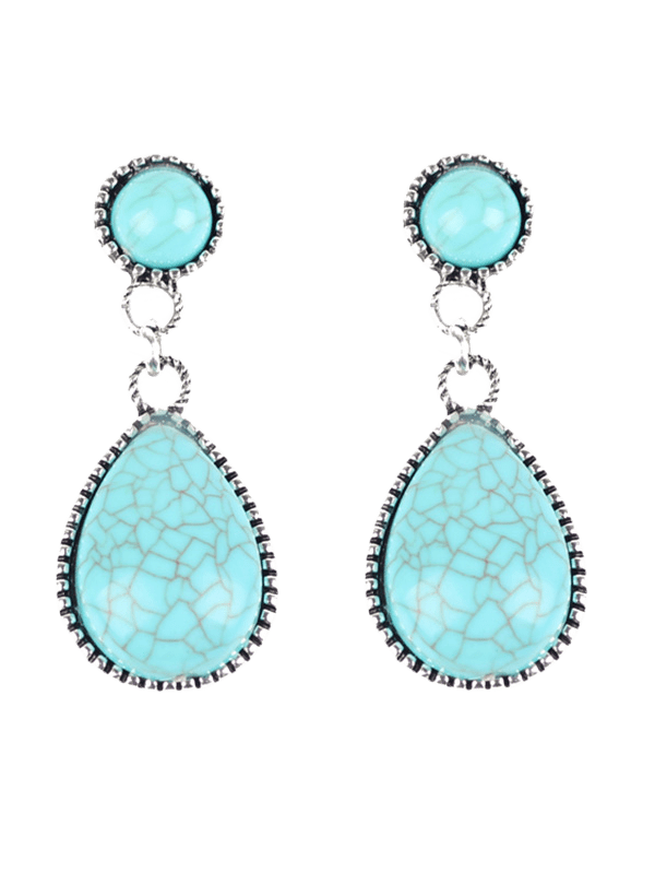 Bohemian Faux Turquoise Water Drop Earrings