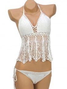 Flounce Halter Crochet Bikini Set - White M
