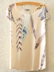 Feather Print Round Collar Short Sleeve T-Shirt