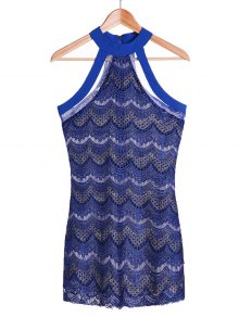Bodycon Scalloped Lace Dress - Sapphire Blue L