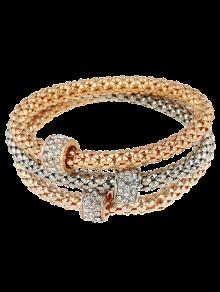 3 PCS Rhinestone Circle Charm Bracelets - Golden